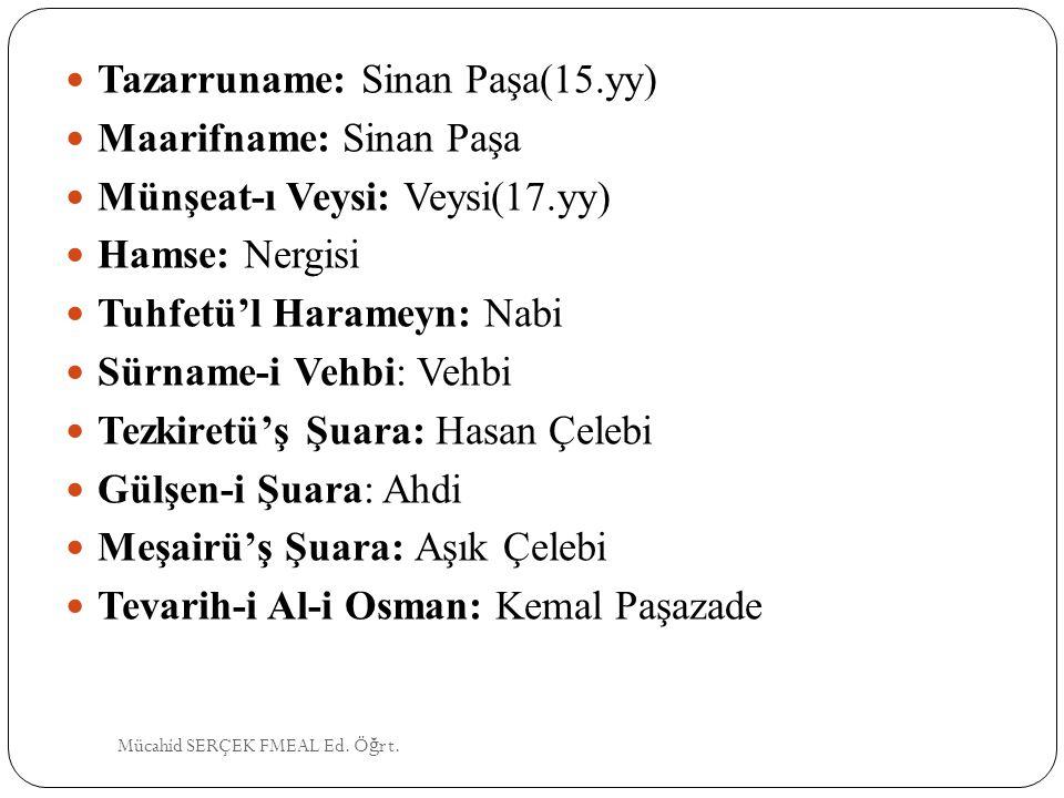 Tazarruname: Sinan Paşa(15.yy) Maarifname: Sinan Paşa