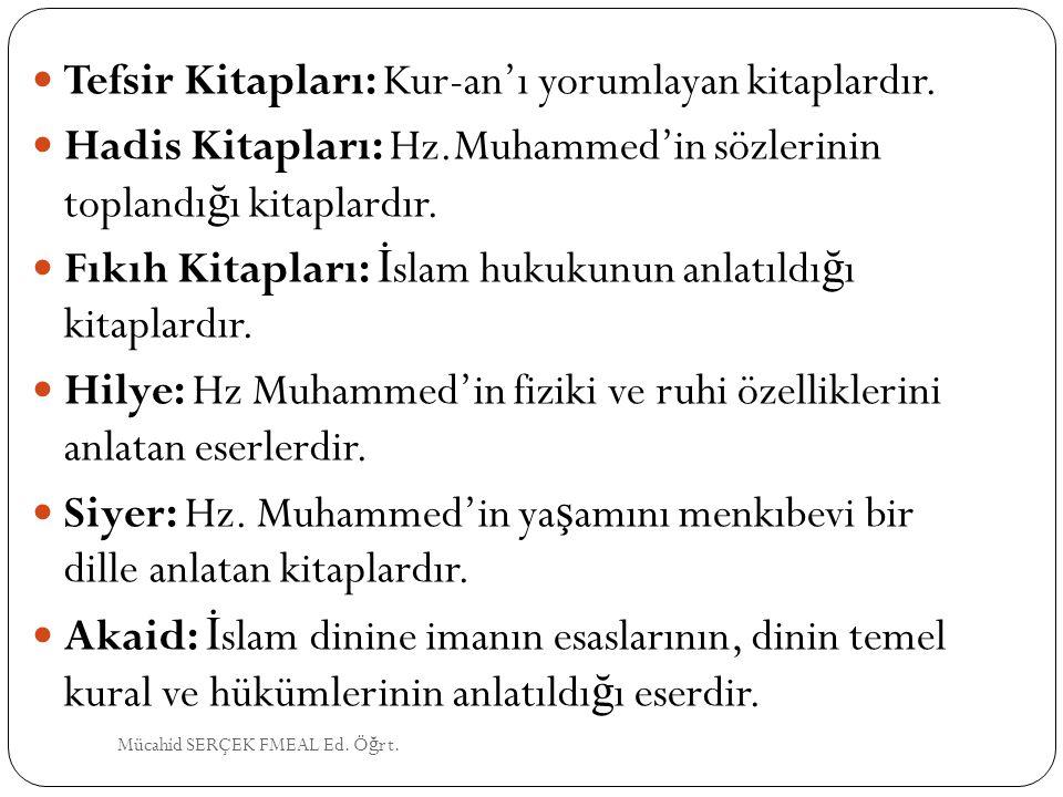 Tefsir Kitapları: Kur-an'ı yorumlayan kitaplardır.