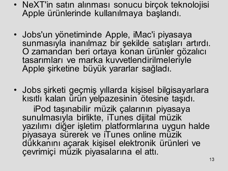 NeXT in satın alınması sonucu birçok teknolojisi Apple ürünlerinde kullanılmaya başlandı.