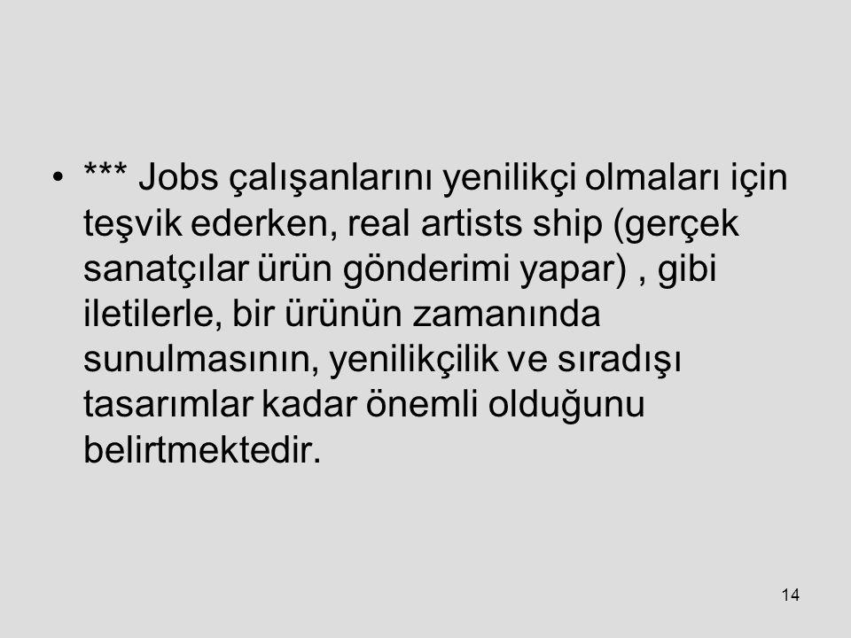 *** Jobs çalışanlarını yenilikçi olmaları için teşvik ederken, real artists ship (gerçek sanatçılar ürün gönderimi yapar) , gibi iletilerle, bir ürünün zamanında sunulmasının, yenilikçilik ve sıradışı tasarımlar kadar önemli olduğunu belirtmektedir.
