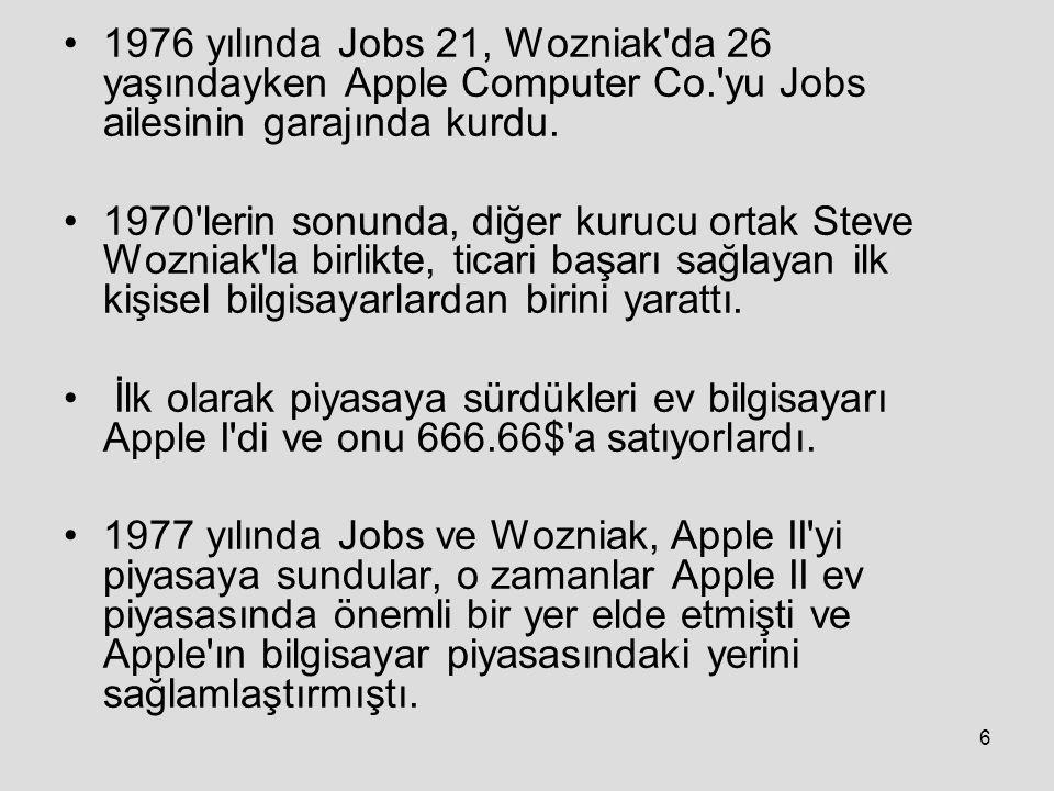 1976 yılında Jobs 21, Wozniak da 26 yaşındayken Apple Computer Co