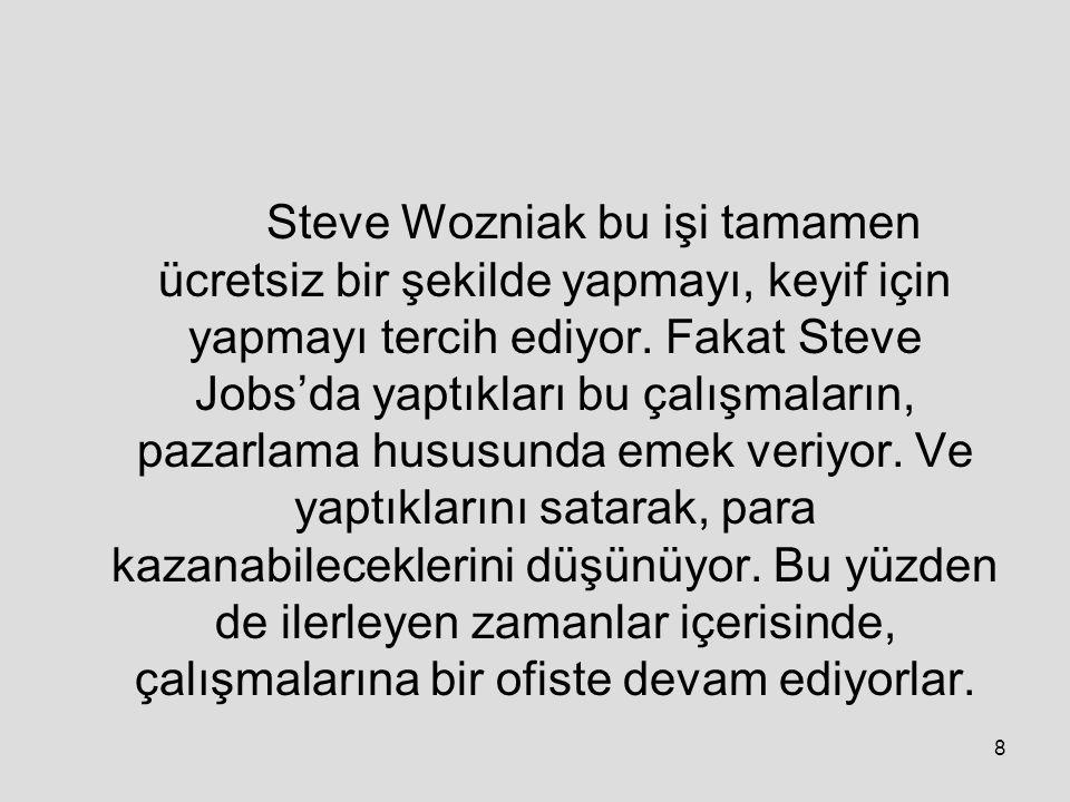 Steve Wozniak bu işi tamamen ücretsiz bir şekilde yapmayı, keyif için yapmayı tercih ediyor.