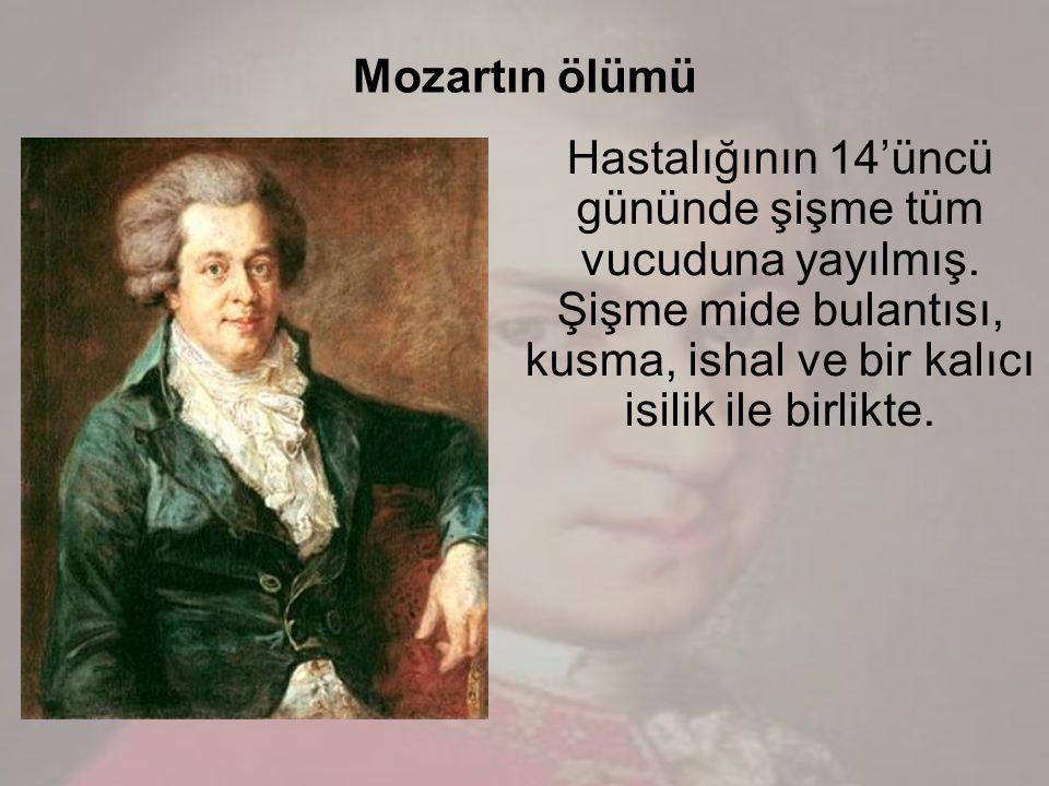 Mozartın ölümü Hastalığının 14'üncü gününde şişme tüm vucuduna yayılmış.