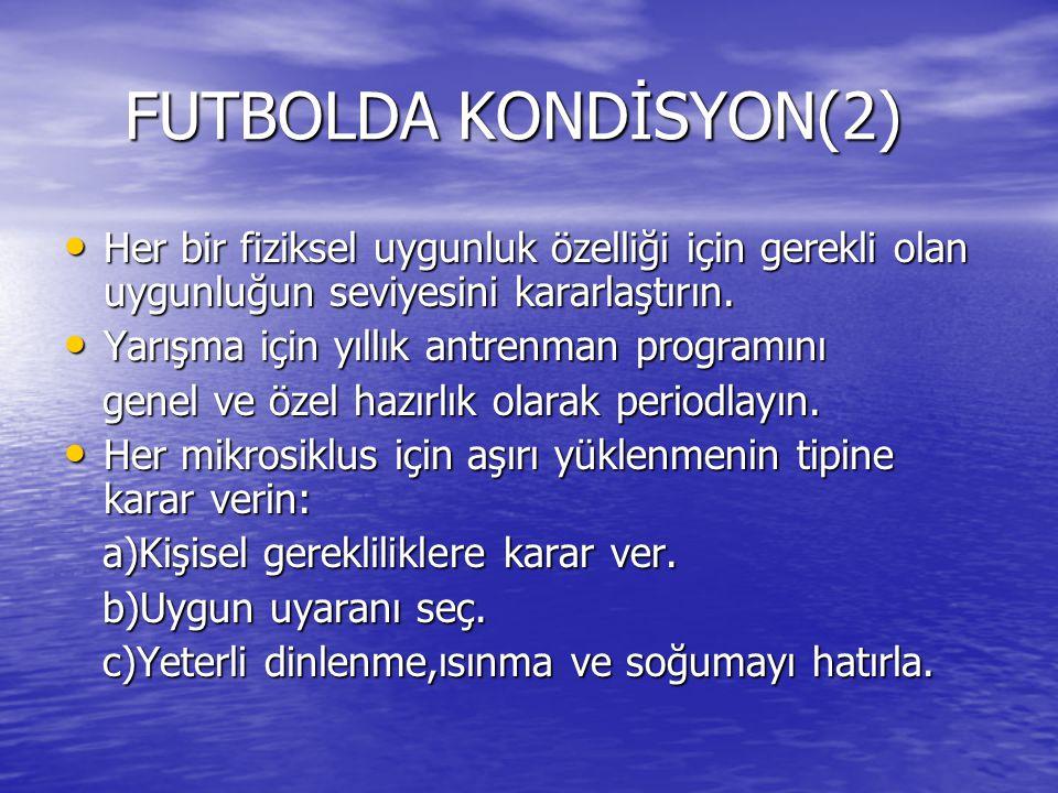 FUTBOLDA KONDİSYON(2) Her bir fiziksel uygunluk özelliği için gerekli olan uygunluğun seviyesini kararlaştırın.