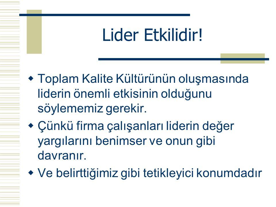 Lider Etkilidir! Toplam Kalite Kültürünün oluşmasında liderin önemli etkisinin olduğunu söylememiz gerekir.