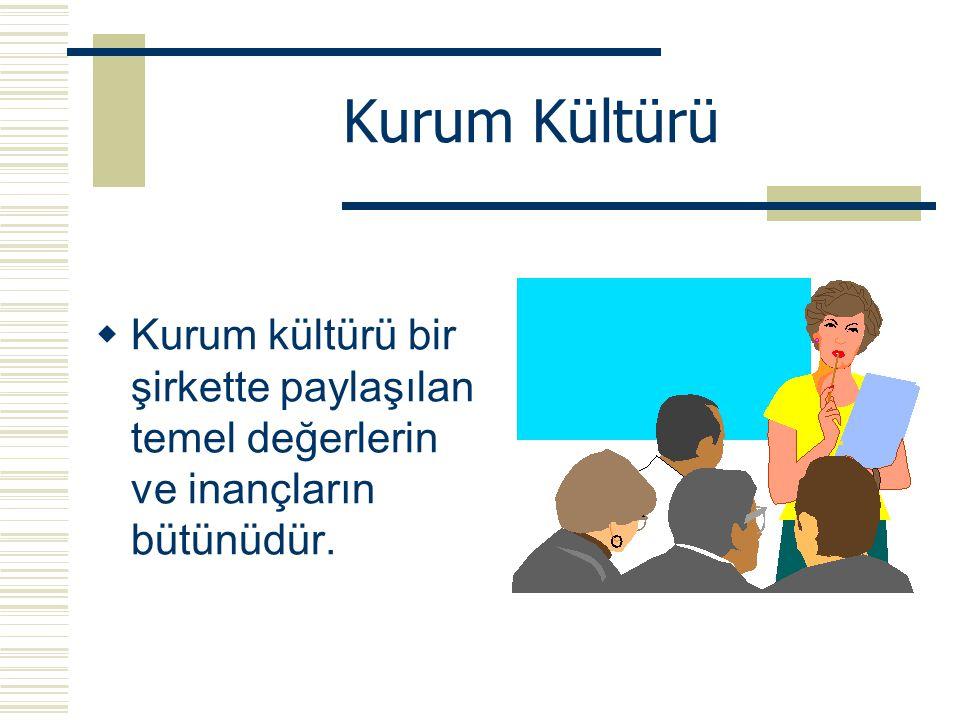 Kurum Kültürü Kurum kültürü bir şirkette paylaşılan temel değerlerin ve inançların bütünüdür.