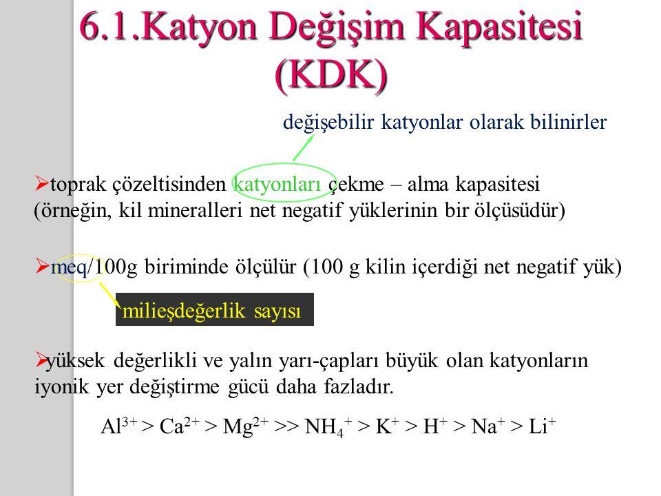 6.1.Katyon Değişim Kapasitesi (KDK)