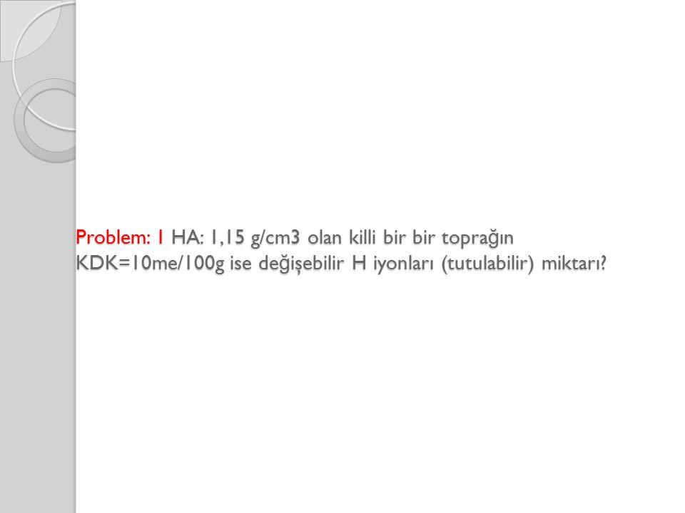 Problem: 1 HA: 1,15 g/cm3 olan killi bir bir toprağın KDK=10me/100g ise değişebilir H iyonları (tutulabilir) miktarı