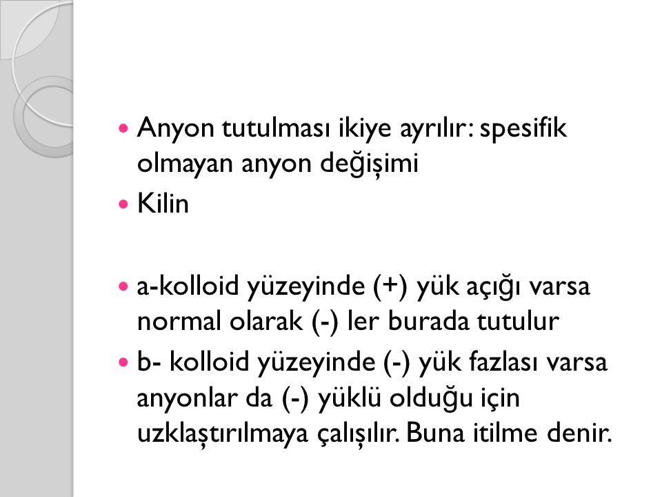 Anyon tutulması ikiye ayrılır: spesifik olmayan anyon değişimi