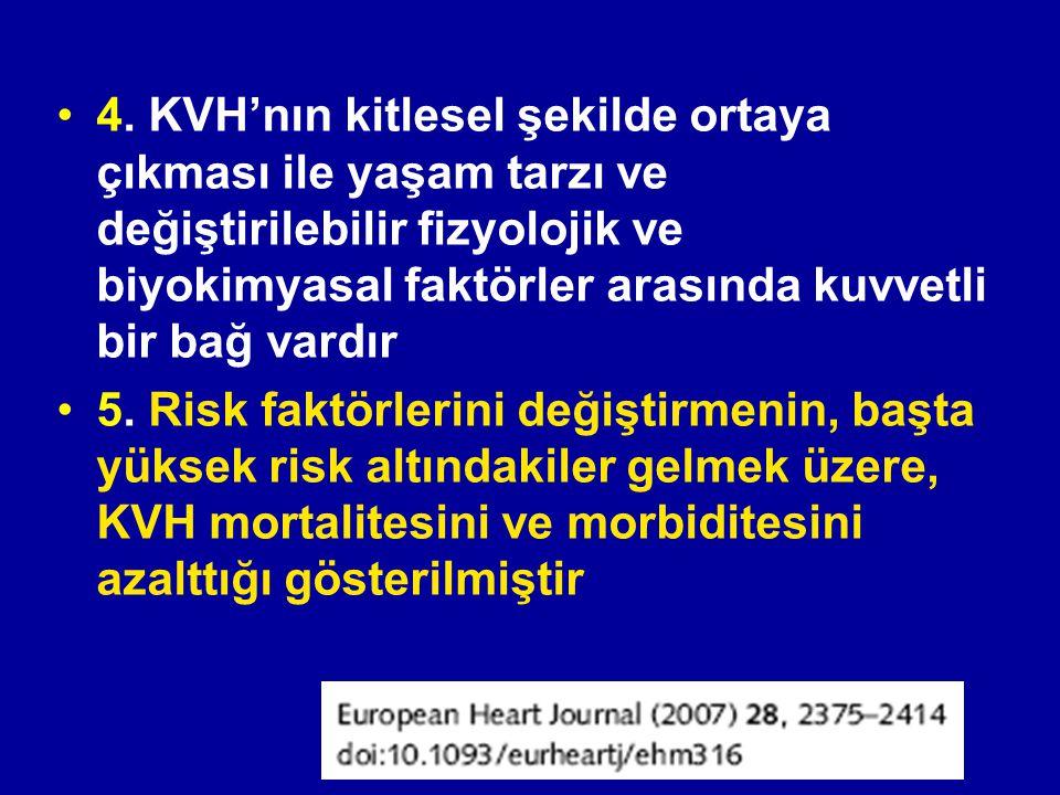 4. KVH'nın kitlesel şekilde ortaya çıkması ile yaşam tarzı ve değiştirilebilir fizyolojik ve biyokimyasal faktörler arasında kuvvetli bir bağ vardır