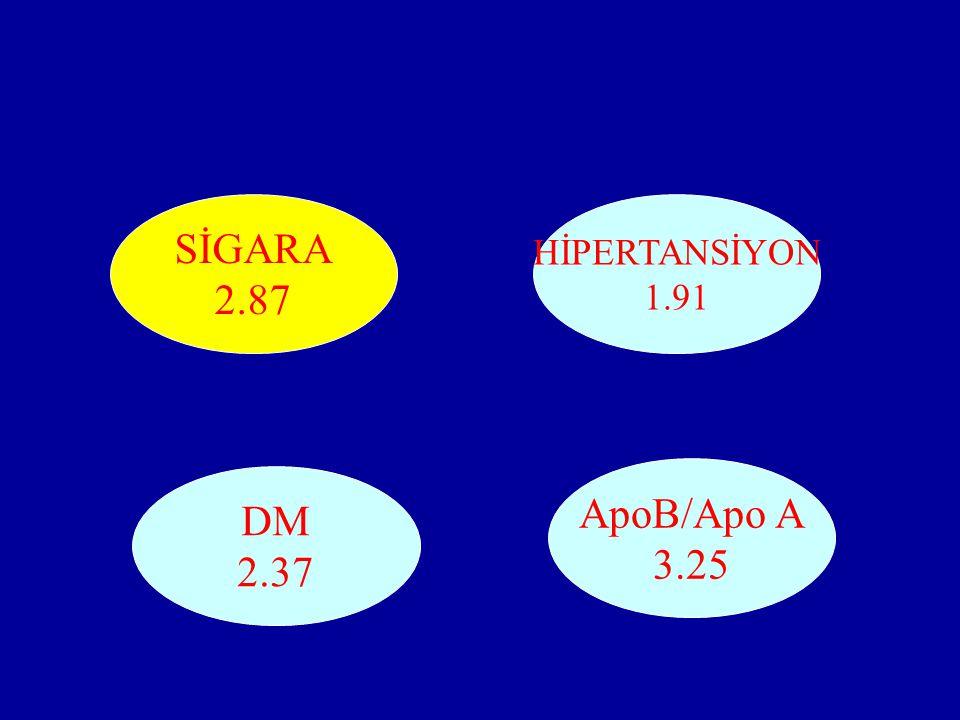 SİGARA 2.87 HİPERTANSİYON 1.91 ApoB/Apo A 3.25 DM 2.37