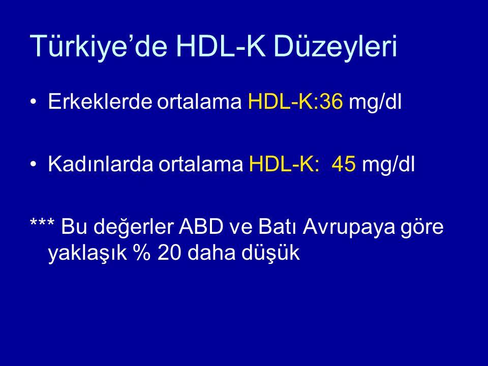 Türkiye'de HDL-K Düzeyleri