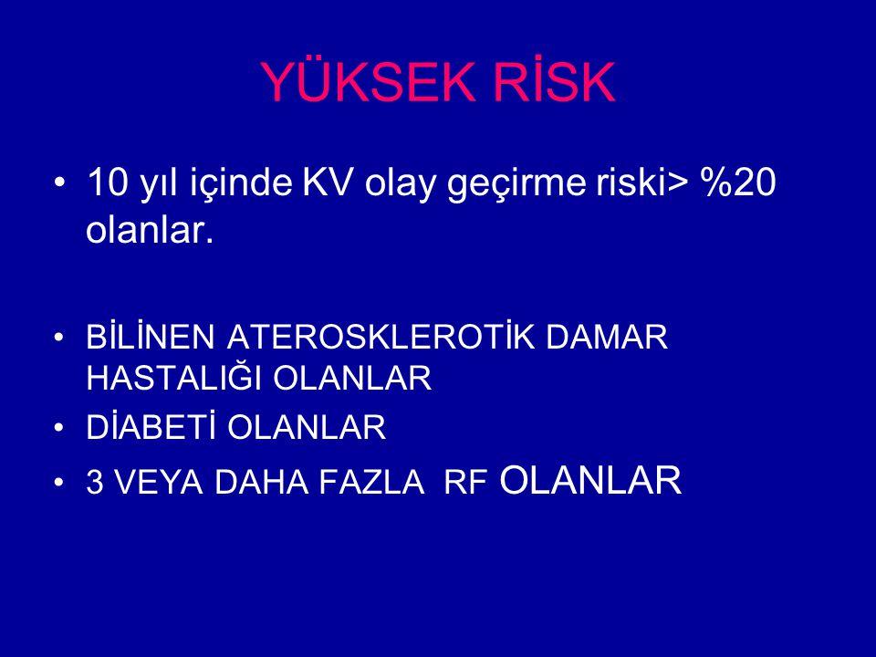 YÜKSEK RİSK 10 yıl içinde KV olay geçirme riski> %20 olanlar.