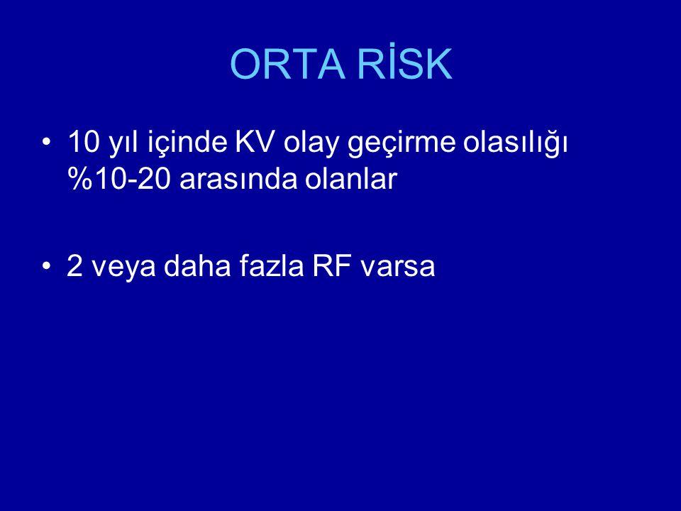 ORTA RİSK 10 yıl içinde KV olay geçirme olasılığı %10-20 arasında olanlar.
