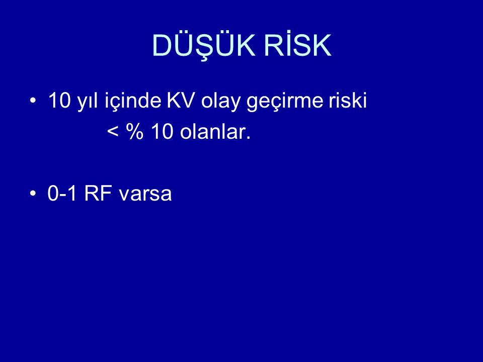 DÜŞÜK RİSK 10 yıl içinde KV olay geçirme riski < % 10 olanlar.