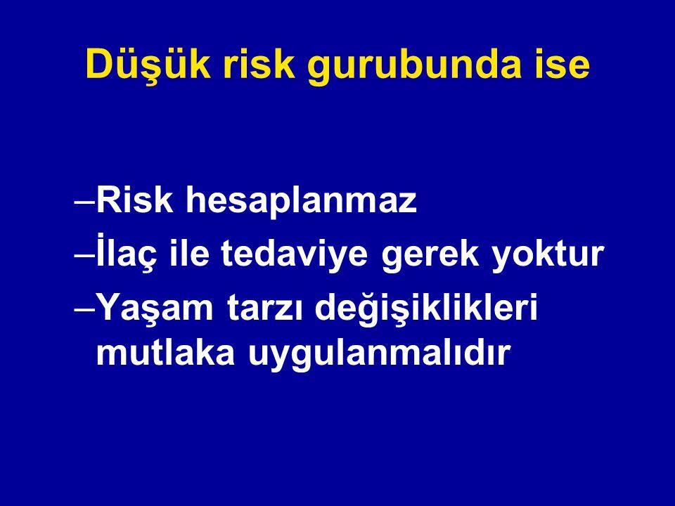Düşük risk gurubunda ise
