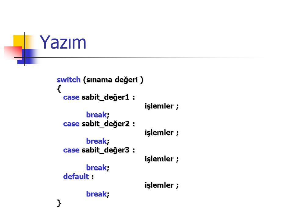 Yazım switch (sınama değeri ) { case sabit_değer1 : işlemler ; break;