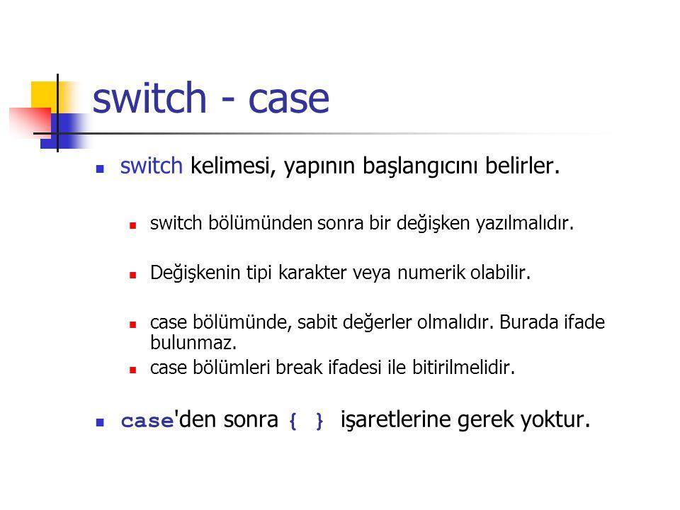 switch - case switch kelimesi, yapının başlangıcını belirler.