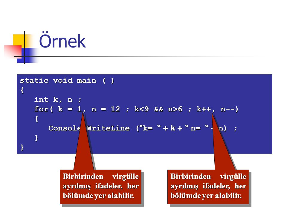 Örnek static void main ( ) { int k, n ;