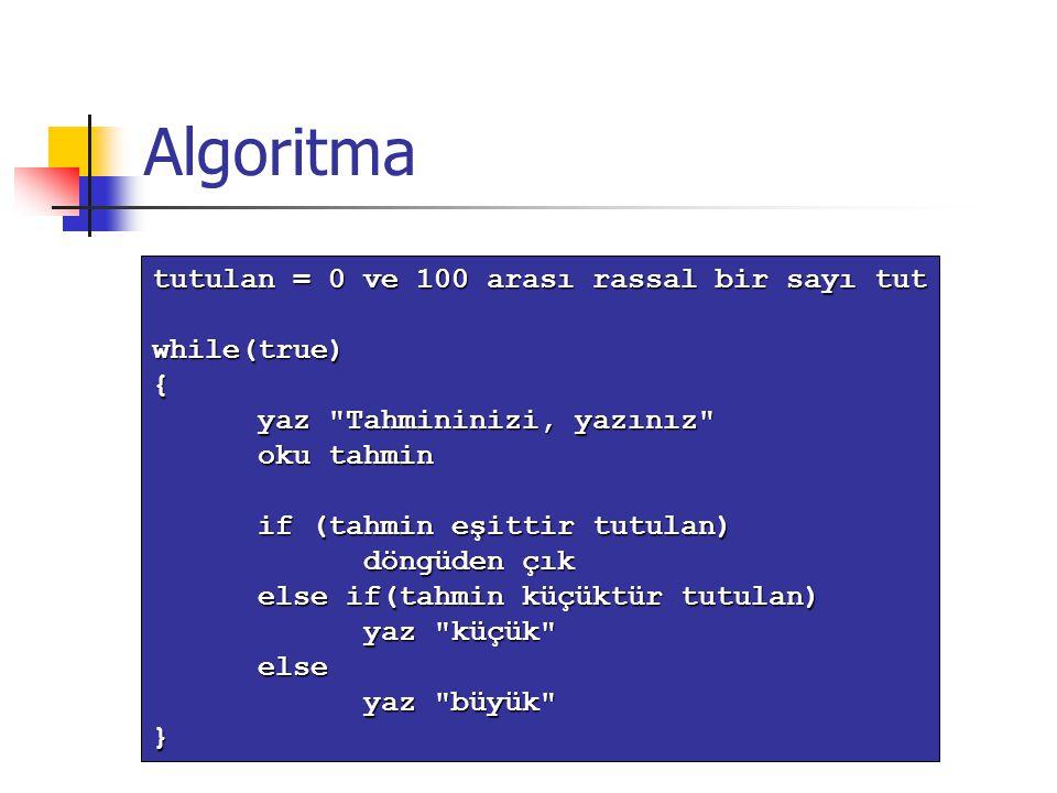 Algoritma tutulan = 0 ve 100 arası rassal bir sayı tut while(true) {