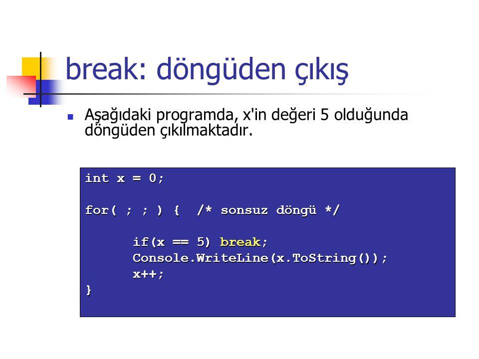 break: döngüden çıkış Aşağıdaki programda, x in değeri 5 olduğunda döngüden çıkılmaktadır. int x = 0;