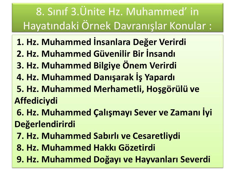8. Sınıf 3.Ünite Hz. Muhammed' in Hayatındaki Örnek Davranışlar Konular : Konular