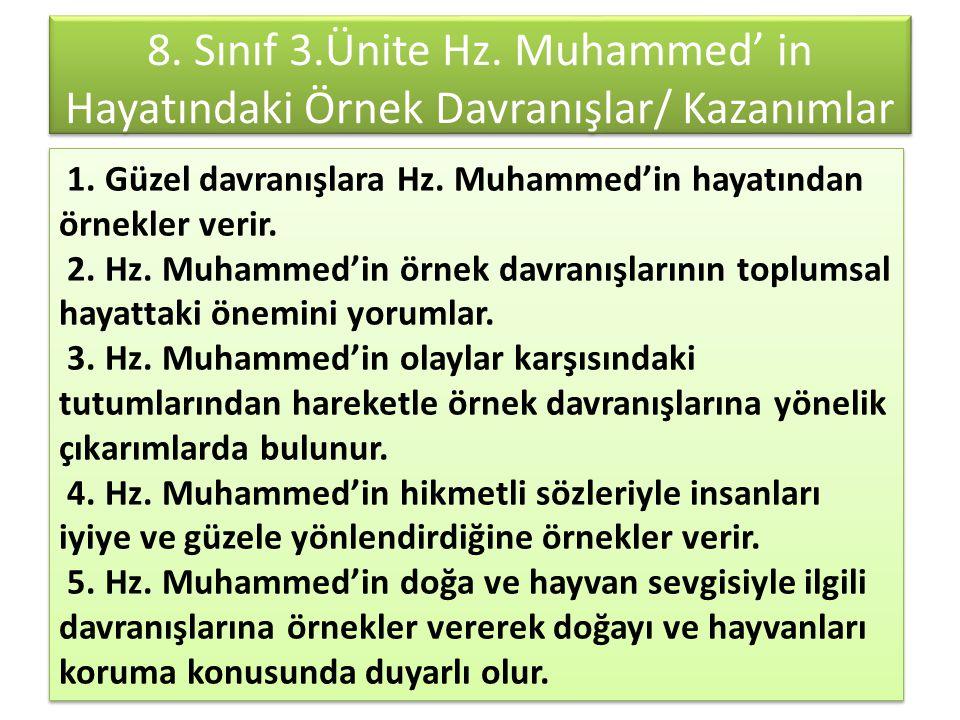8. Sınıf 3.Ünite Hz. Muhammed' in Hayatındaki Örnek Davranışlar/ Kazanımlar