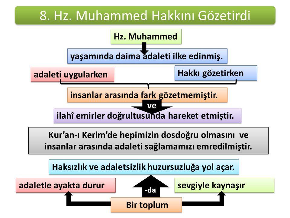 8. Hz. Muhammed Hakkını Gözetirdi