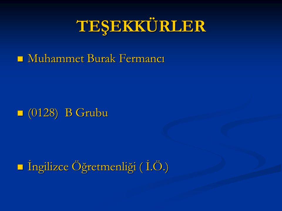 TEŞEKKÜRLER Muhammet Burak Fermancı (0128) B Grubu