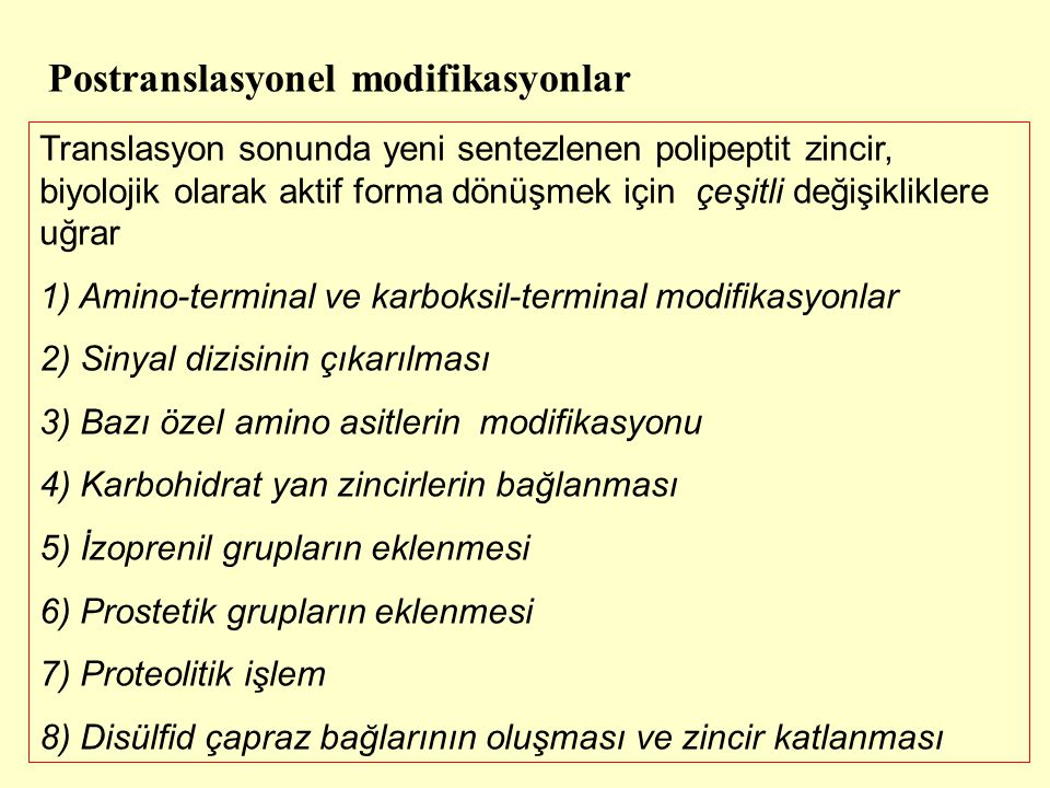 Postranslasyonel modifikasyonlar