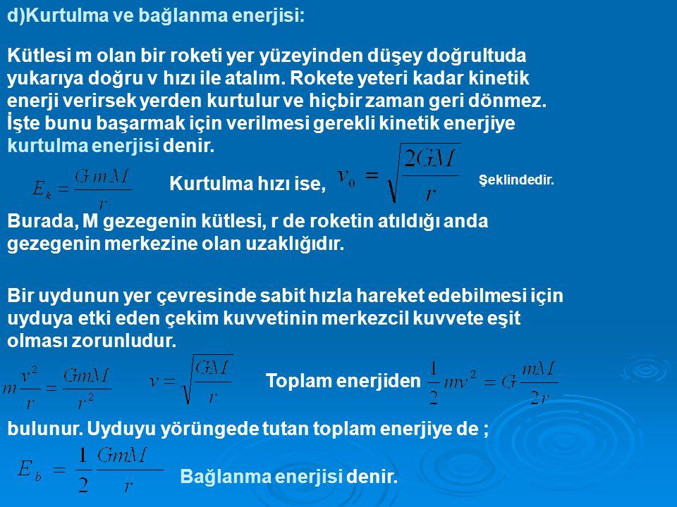 d)Kurtulma ve bağlanma enerjisi:
