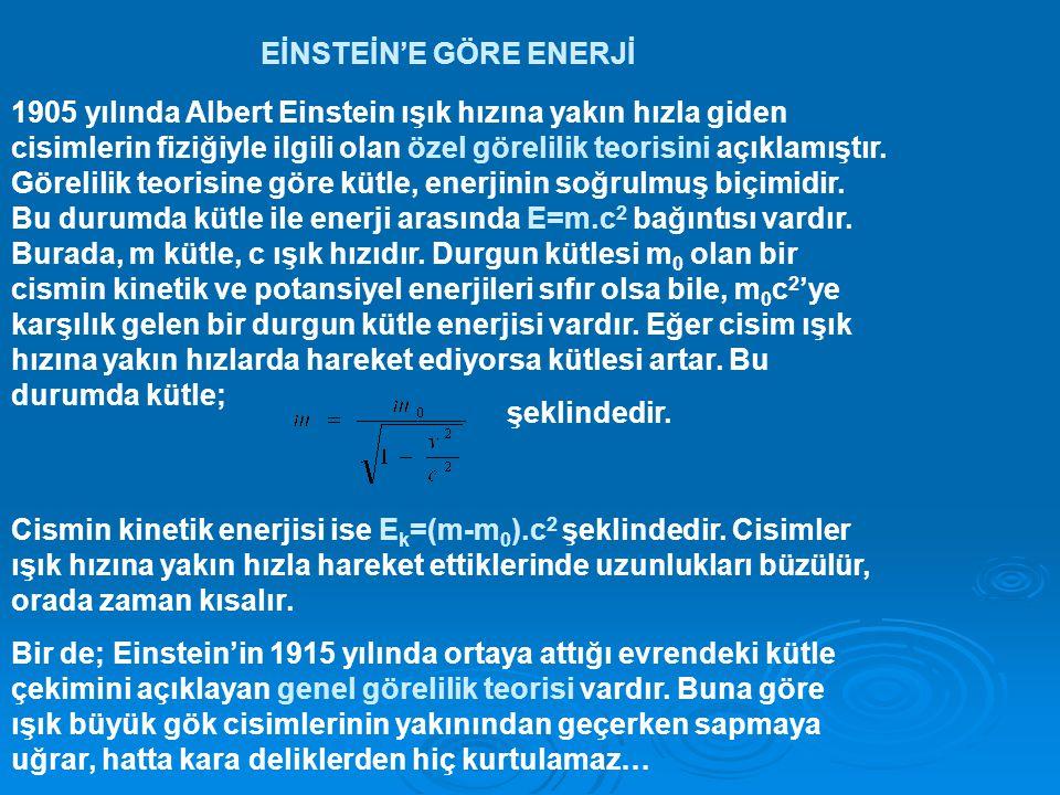 EİNSTEİN'E GÖRE ENERJİ