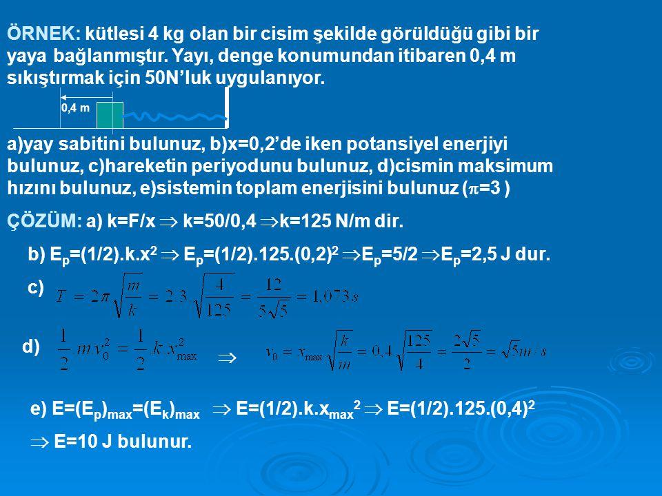 ÇÖZÜM: a) k=F/x  k=50/0,4 k=125 N/m dir.