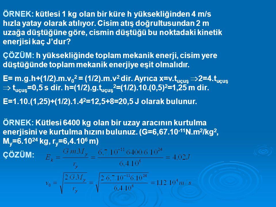 ÖRNEK: kütlesi 1 kg olan bir küre h yüksekliğinden 4 m/s hızla yatay olarak atılıyor. Cisim atış doğrultusundan 2 m uzağa düştüğüne göre, cismin düştüğü bu noktadaki kinetik enerjisi kaç J'dur