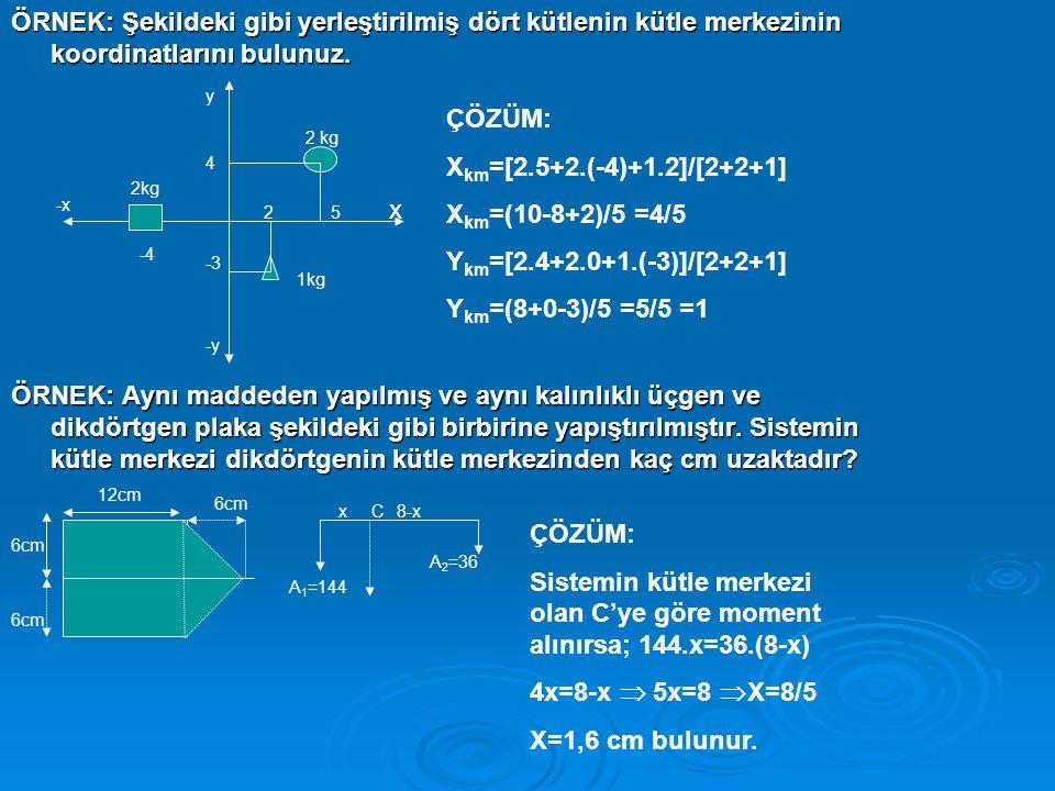 Sistemin kütle merkezi olan C'ye göre moment alınırsa; 144.x=36.(8-x)