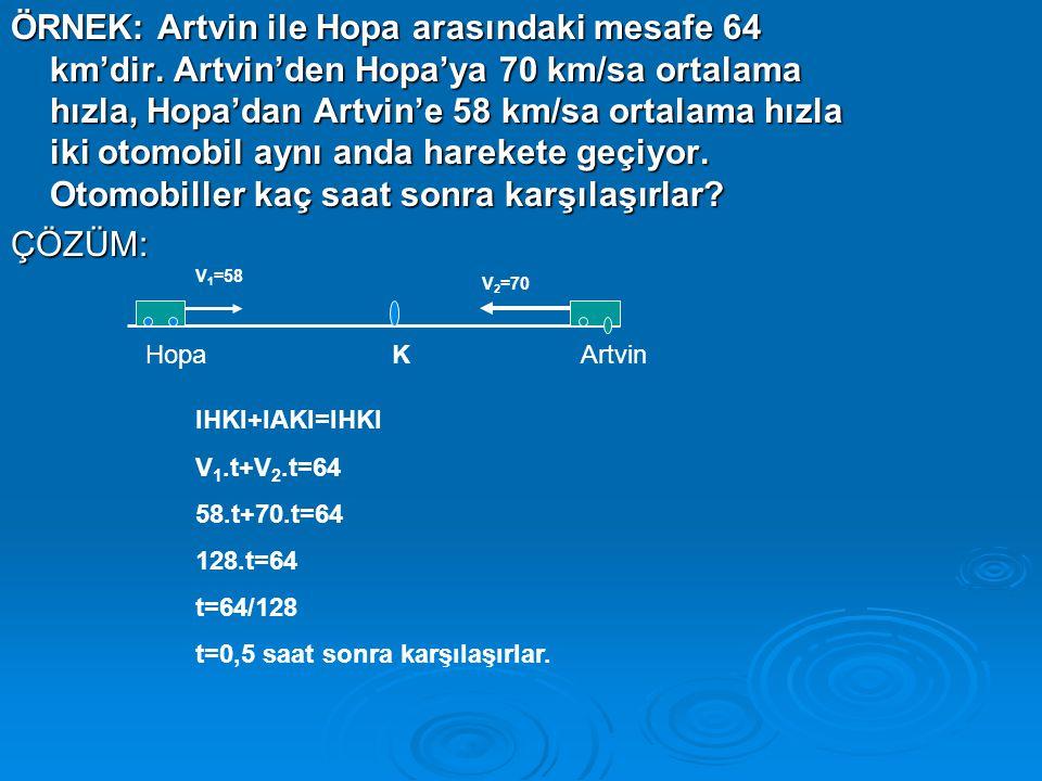ÖRNEK: Artvin ile Hopa arasındaki mesafe 64 km'dir