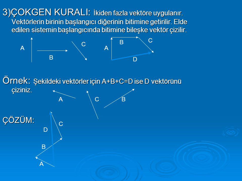 Örnek: Şekildeki vektörler için A+B+C=D ise D vektörünü çiziniz.