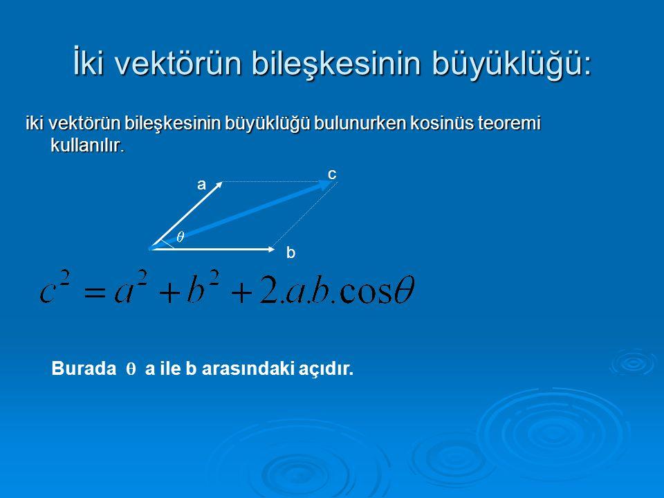 İki vektörün bileşkesinin büyüklüğü:
