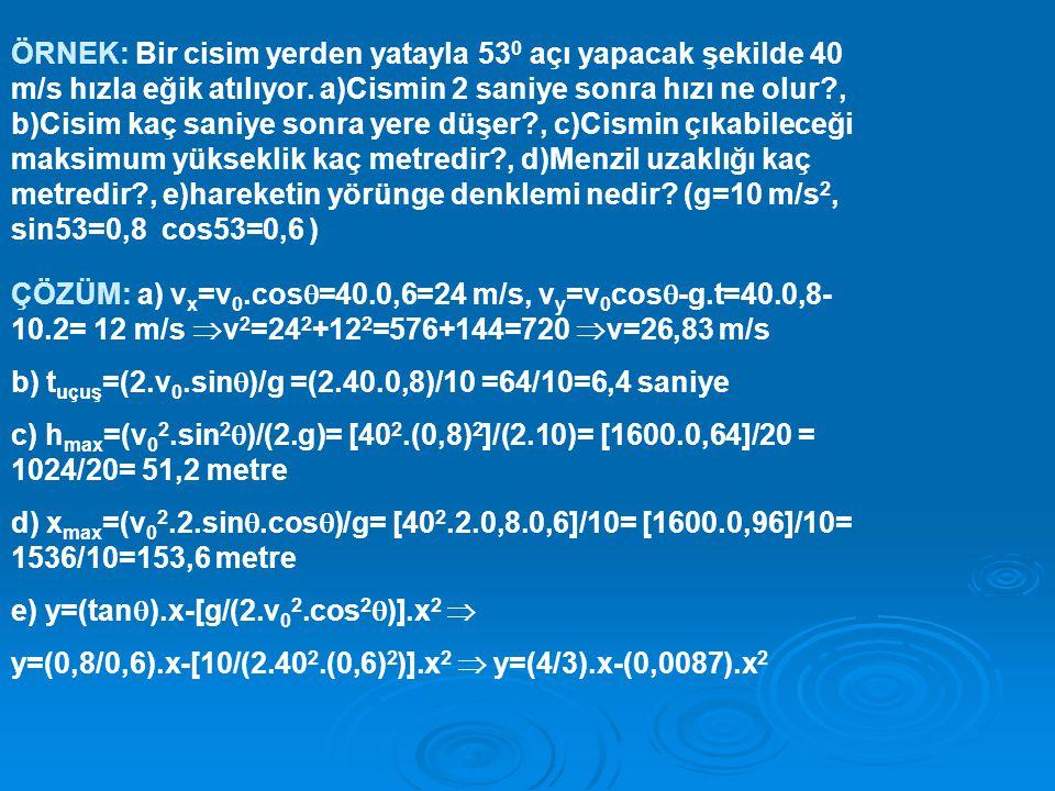 ÖRNEK: Bir cisim yerden yatayla 530 açı yapacak şekilde 40 m/s hızla eğik atılıyor. a)Cismin 2 saniye sonra hızı ne olur , b)Cisim kaç saniye sonra yere düşer , c)Cismin çıkabileceği maksimum yükseklik kaç metredir , d)Menzil uzaklığı kaç metredir , e)hareketin yörünge denklemi nedir (g=10 m/s2, sin53=0,8 cos53=0,6 )
