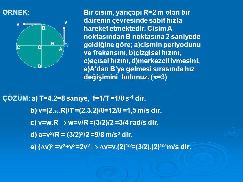 ÇÖZÜM: a) T=4.2=8 saniye, f=1/T =1/8 s-1 dir.