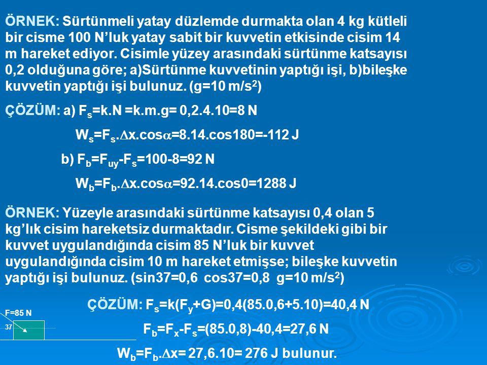 ÇÖZÜM: a) Fs=k.N =k.m.g= 0,2.4.10=8 N Ws=Fs.x.cos=8.14.cos180=-112 J