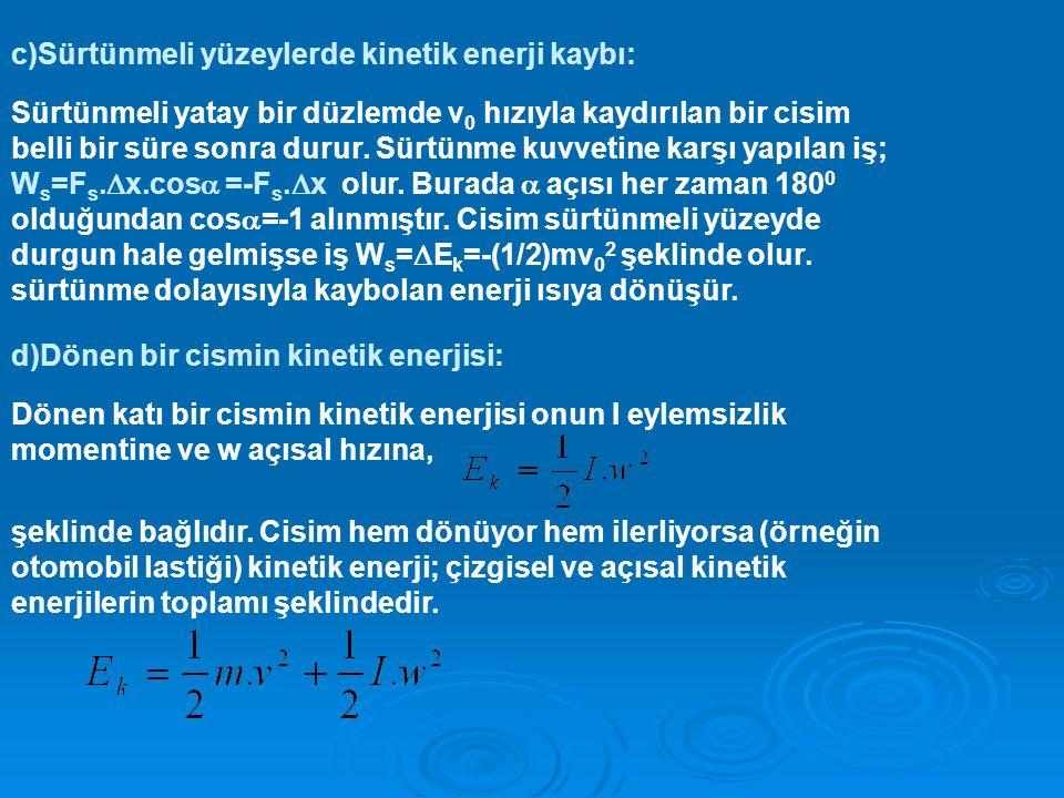 c)Sürtünmeli yüzeylerde kinetik enerji kaybı: