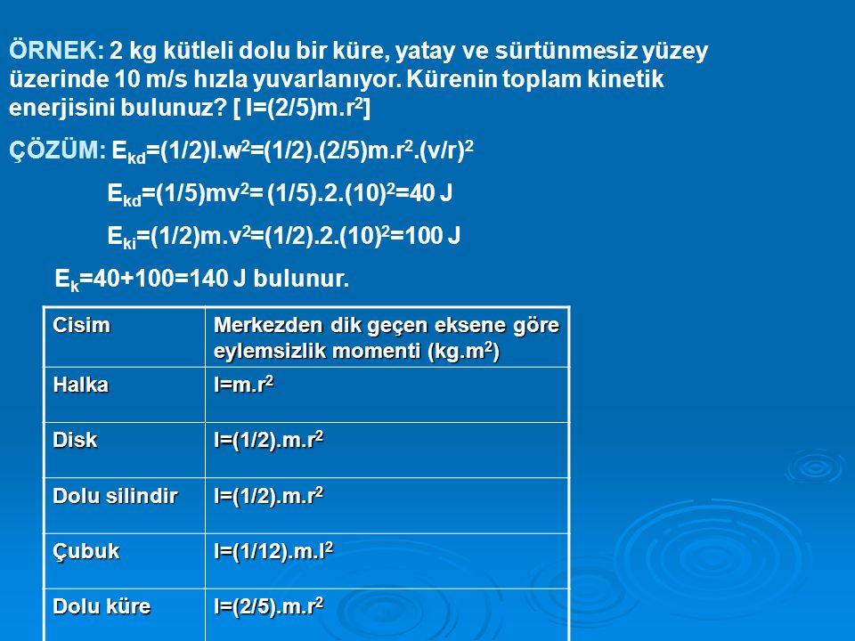 ÇÖZÜM: Ekd=(1/2)I.w2=(1/2).(2/5)m.r2.(v/r)2