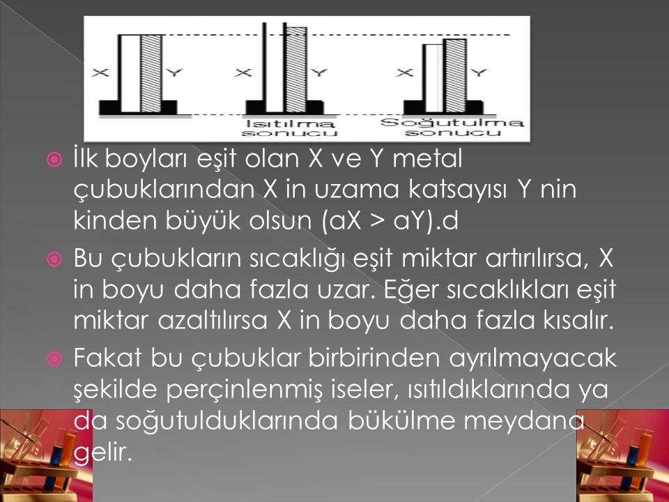 İlk boyları eşit olan X ve Y metal çubuklarından X in uzama katsayısı Y nin kinden büyük olsun (aX > aY).d