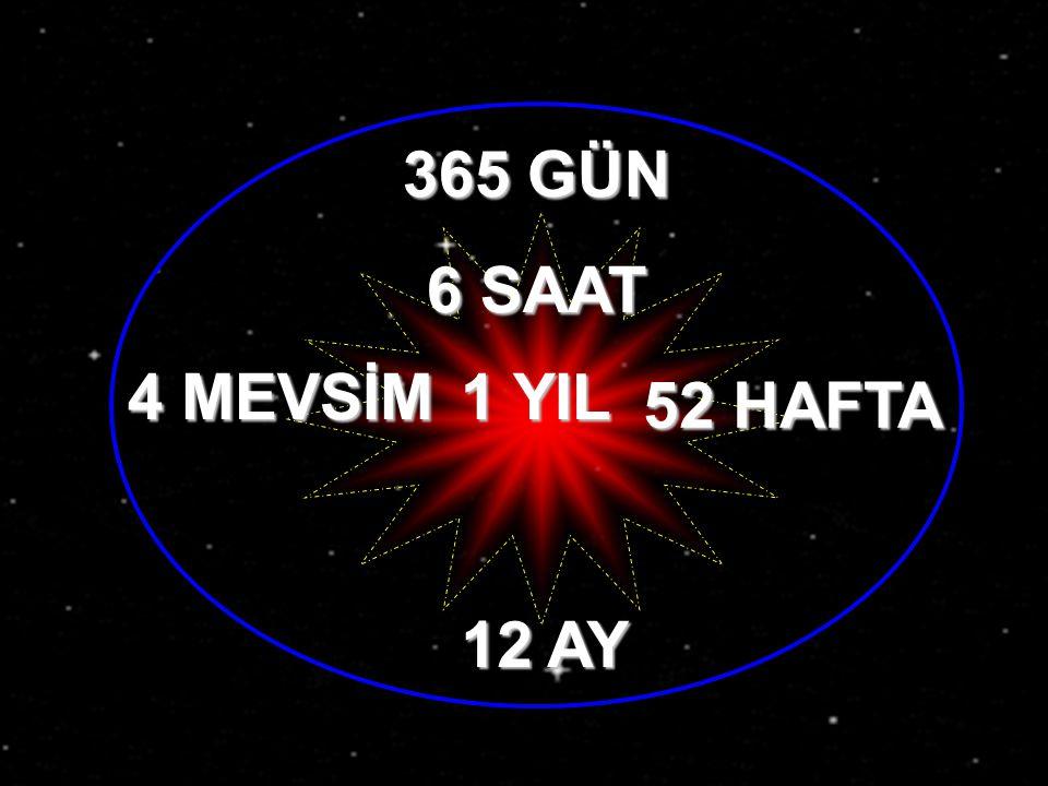 365 GÜN 6 SAAT 4 MEVSİM 52 HAFTA 12 AY