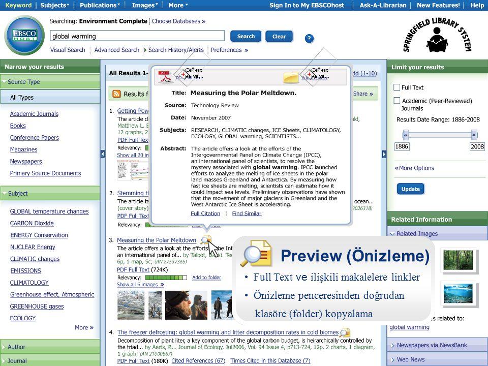 Preview (Önizleme) Full Text ve ilişkili makalelere linkler