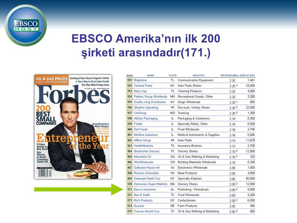 EBSCO Amerika'nın ilk 200 şirketi arasındadır(171.)