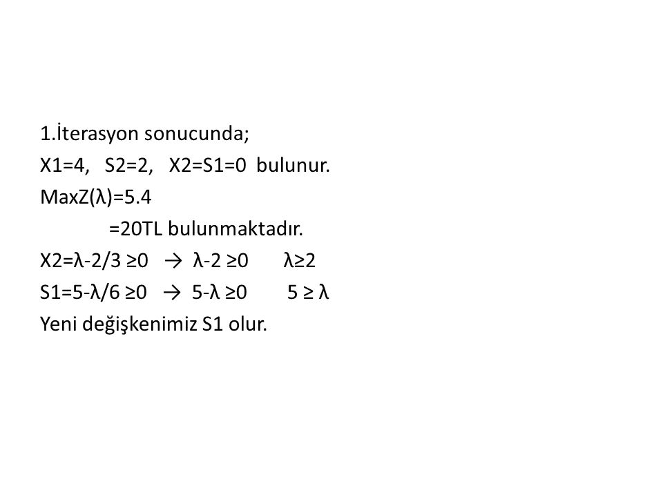 1. İterasyon sonucunda; X1=4, S2=2, X2=S1=0 bulunur. MaxZ(λ)=5