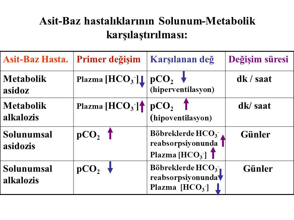 Asit-Baz hastalıklarının Solunum-Metabolik karşılaştırılması: