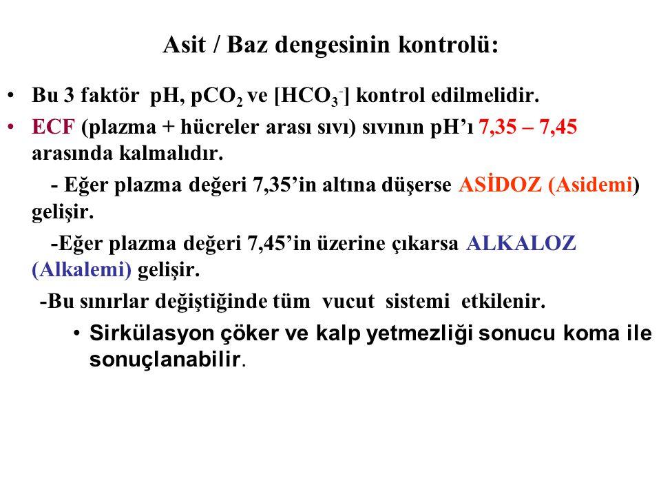Asit / Baz dengesinin kontrolü: